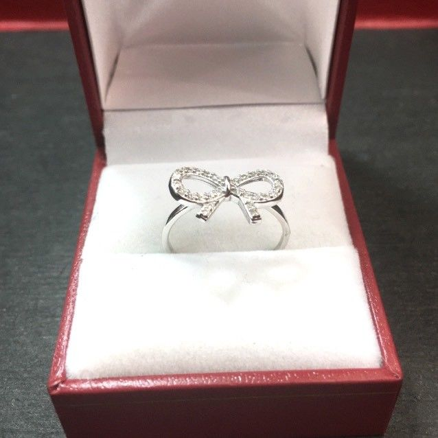 New 0.25 ct Cubic Zirconia 14k Layer On 925 Silver Bow Tie Ribbon Ring Size 7.25