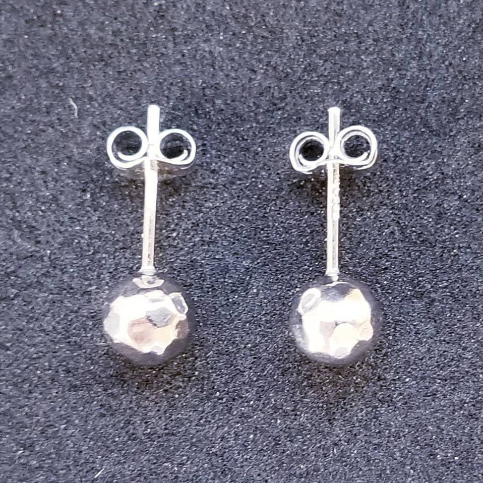 New 14K White Gold on 925 Sterling Silver Small Unique Round Ball Stud Earrings