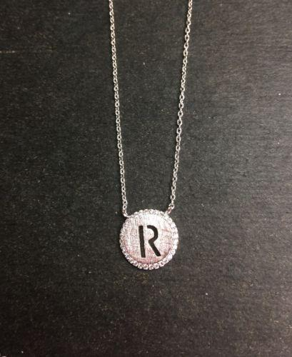 "14k Layer On Solid .925 Silver Letter ""R"" CZ Handset Cable Link Necklace: 16-18"" - 3 Royal Dazzy"