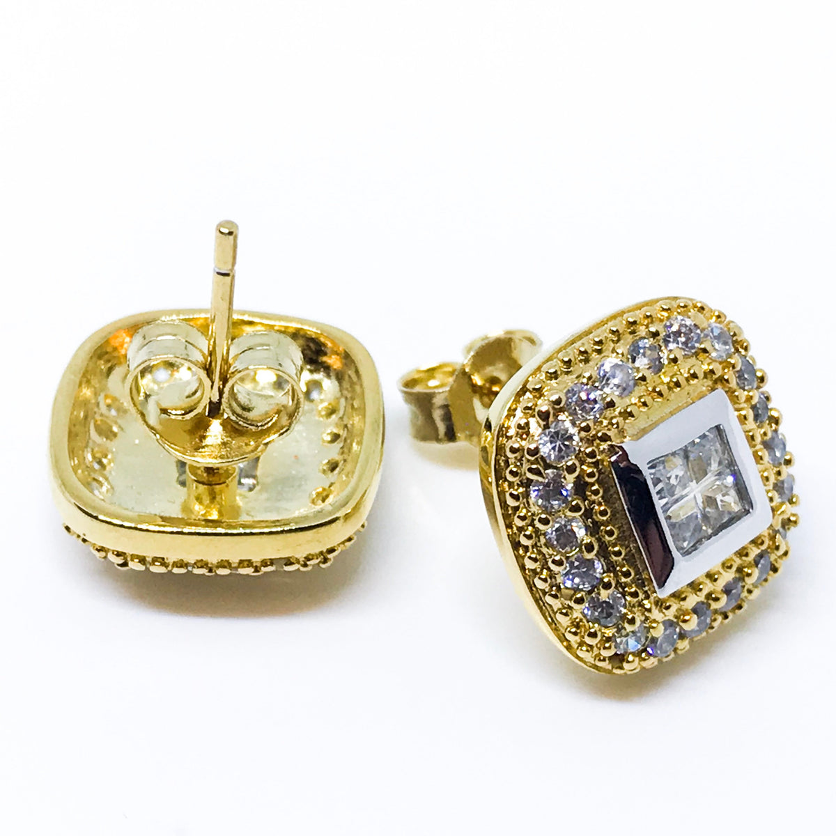 18K Yellow Gold on Sterling Silver Earrings - 3 Royal Dazzy