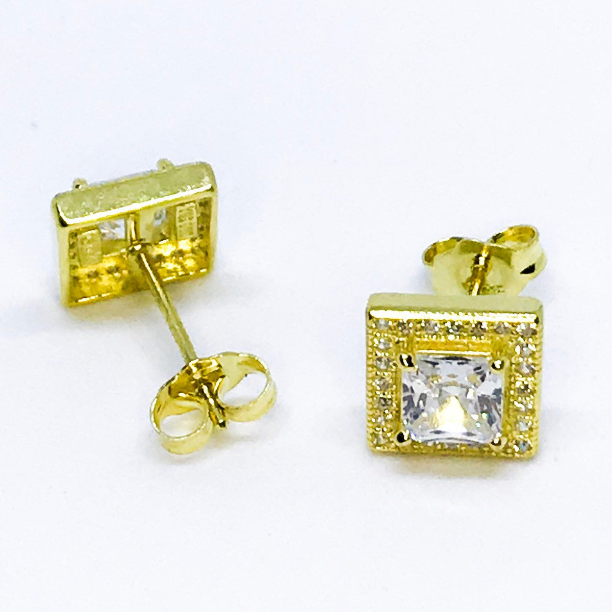 14k Yellow Gold Layered on Sterling Silver Square Earrings - 3 Royal Dazzy