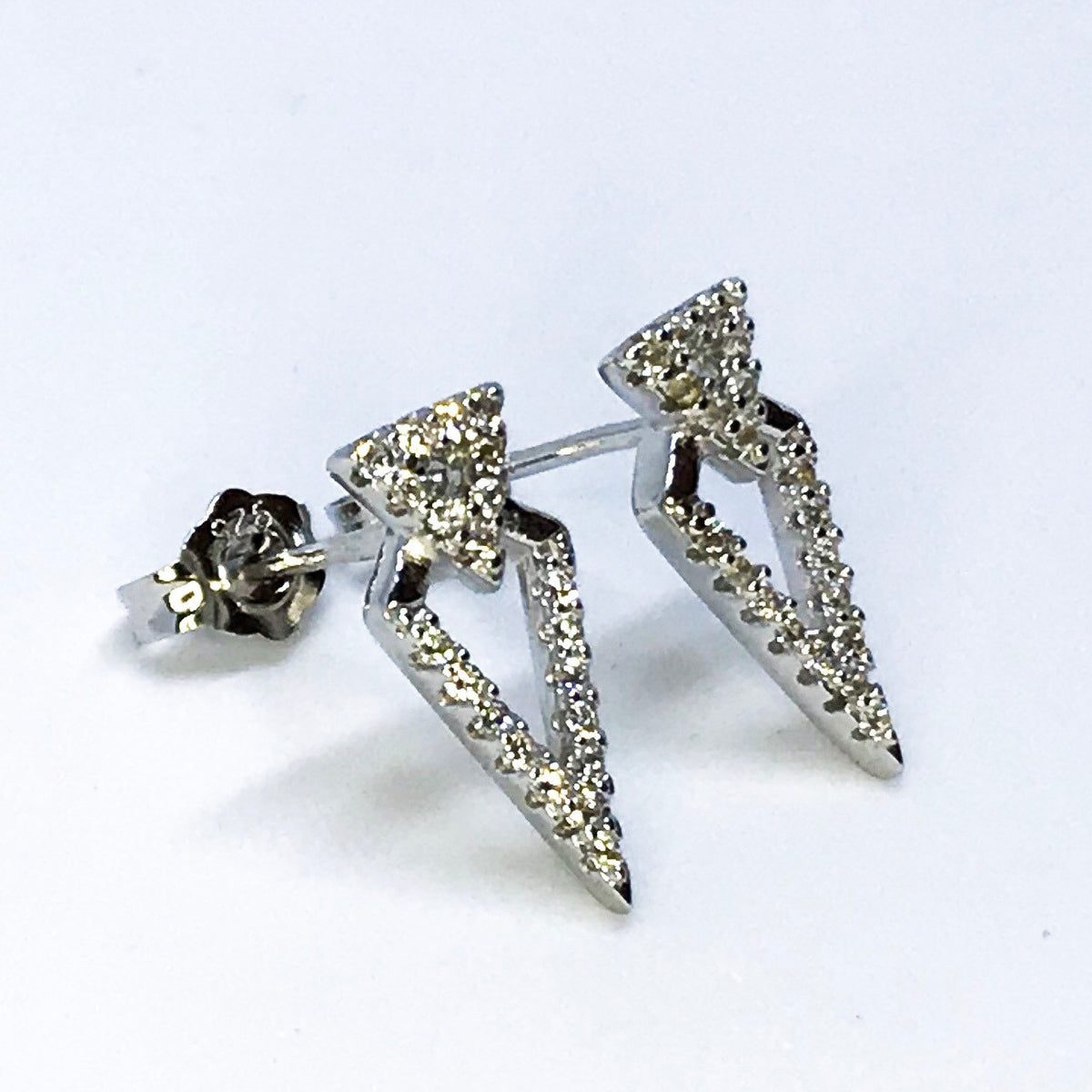14K White Gold on Sterling Silver Unique Arrow Earrings - 3 Royal Dazzy