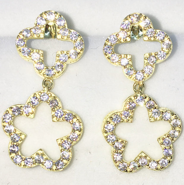 5d318273e Brand New Yellow Gold on 925 Solid Sterling Silver Hollow Four and Five Leaf  Clover round