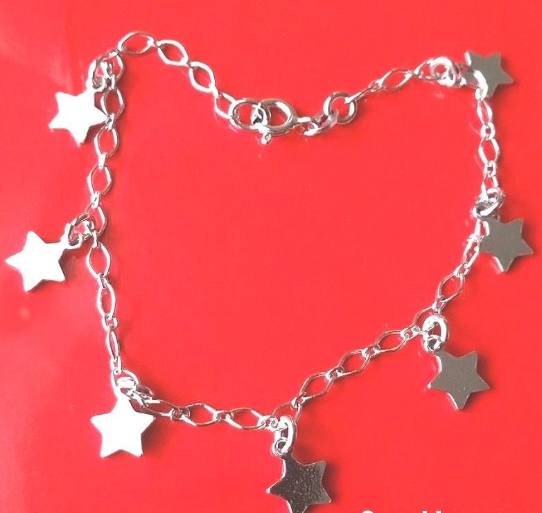 18k white gold layer on Solid 925 Silver dangling Classic Stars charms Bracelet - 3 Royal Dazzy