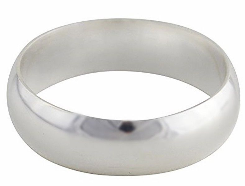 Solid 999 Fine Silver high polished glossy plain wedding Ring Band 5.5 mm S- 7.5