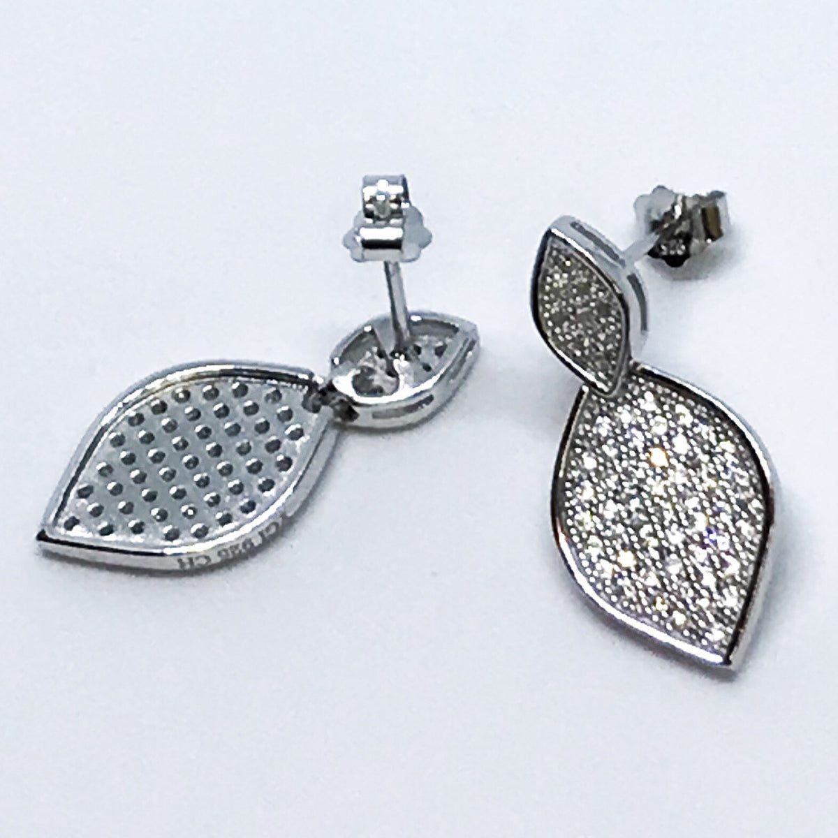 14K White Gold Layered on Sterling Silver Leaf Earrings - 3 Royal Dazzy
