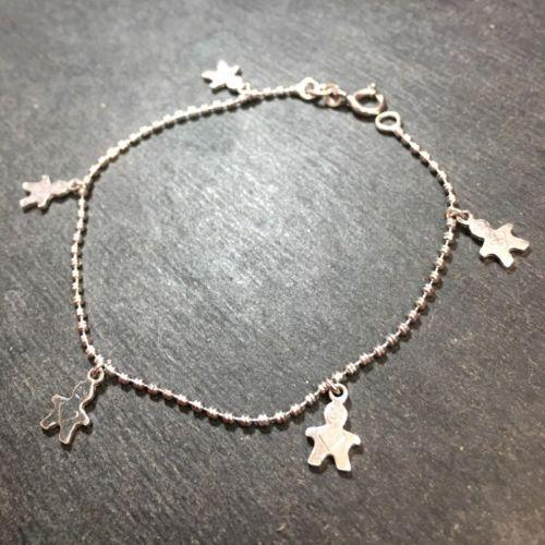 "14k Layer On Solid 925 Silver Italian Boy Dangling Charms Link Bracelet - 7.5"" - 3 Royal Dazzy"