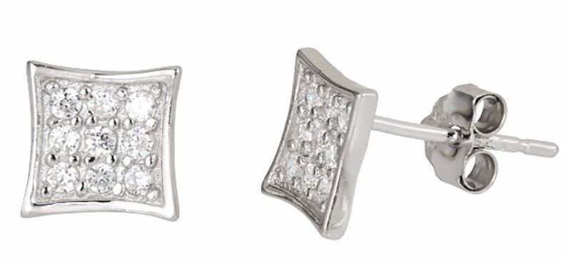 14k white gold layer on Small Flat Square micro pave CZ  Sterling Silver Stud - 3 Royal Dazzy