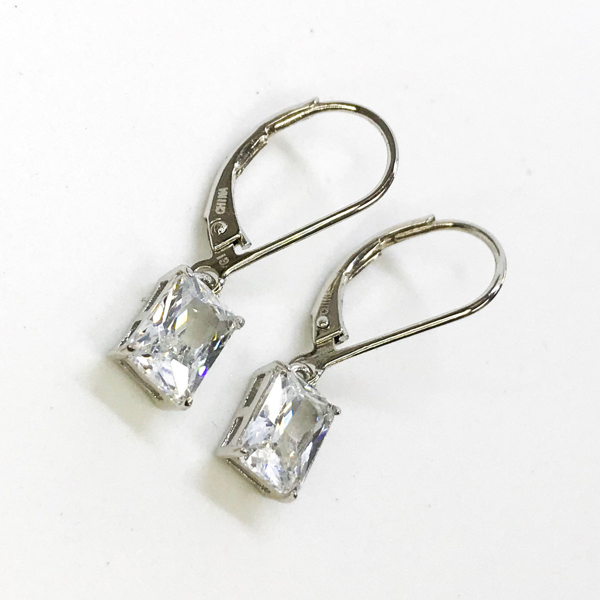 NEW .925 Sterling Silver Rectangular Dangling Earrings