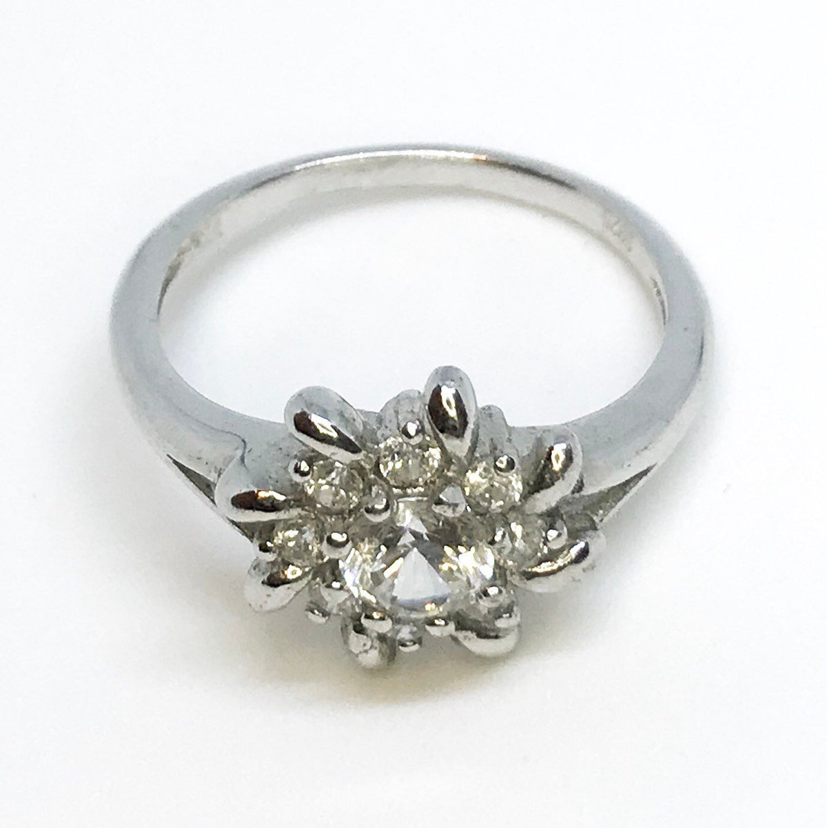 NEW 14K White Gold Layered on Sterling Silver Decorated Detailed Flower Ring