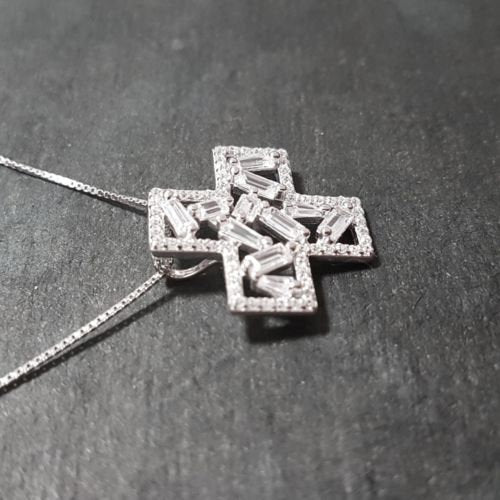 New 14k white gold on 925 sterling silver cross sign pendant charm w/ free chain