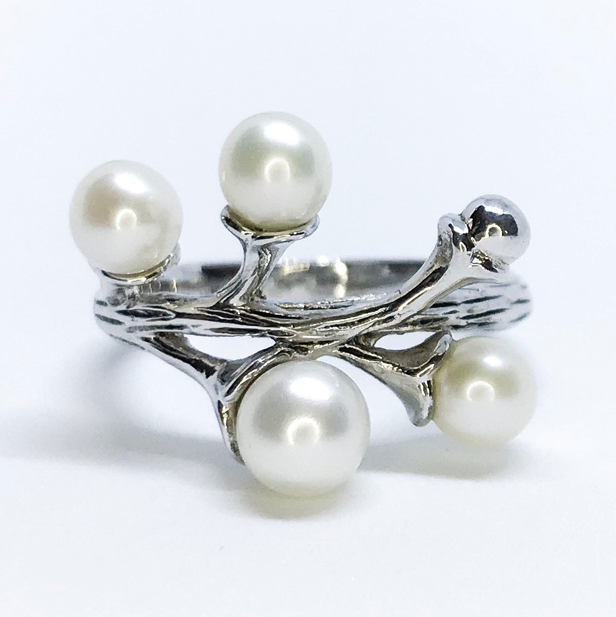 NEW 14K White Gold Layered on Sterling Silver Branch Design with Pearls