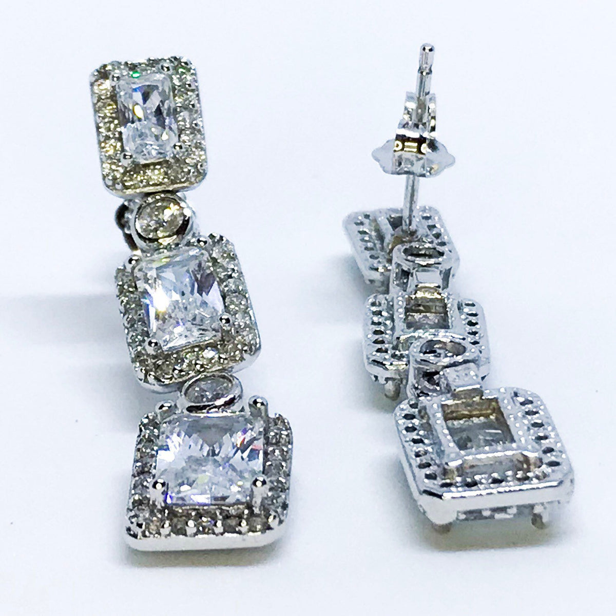 14k White Gold Layered on Sterling Silver Rectangles Dangling Earrings - 3 Royal Dazzy