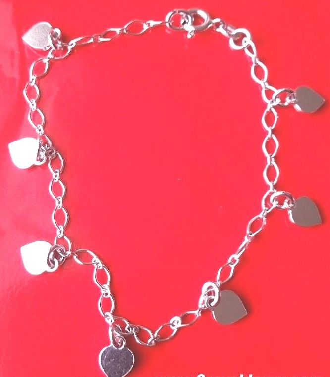 18k white gold layer on Solid 925 Sterling Silver dangling Heart charms bracelet - 3 Royal Dazzy