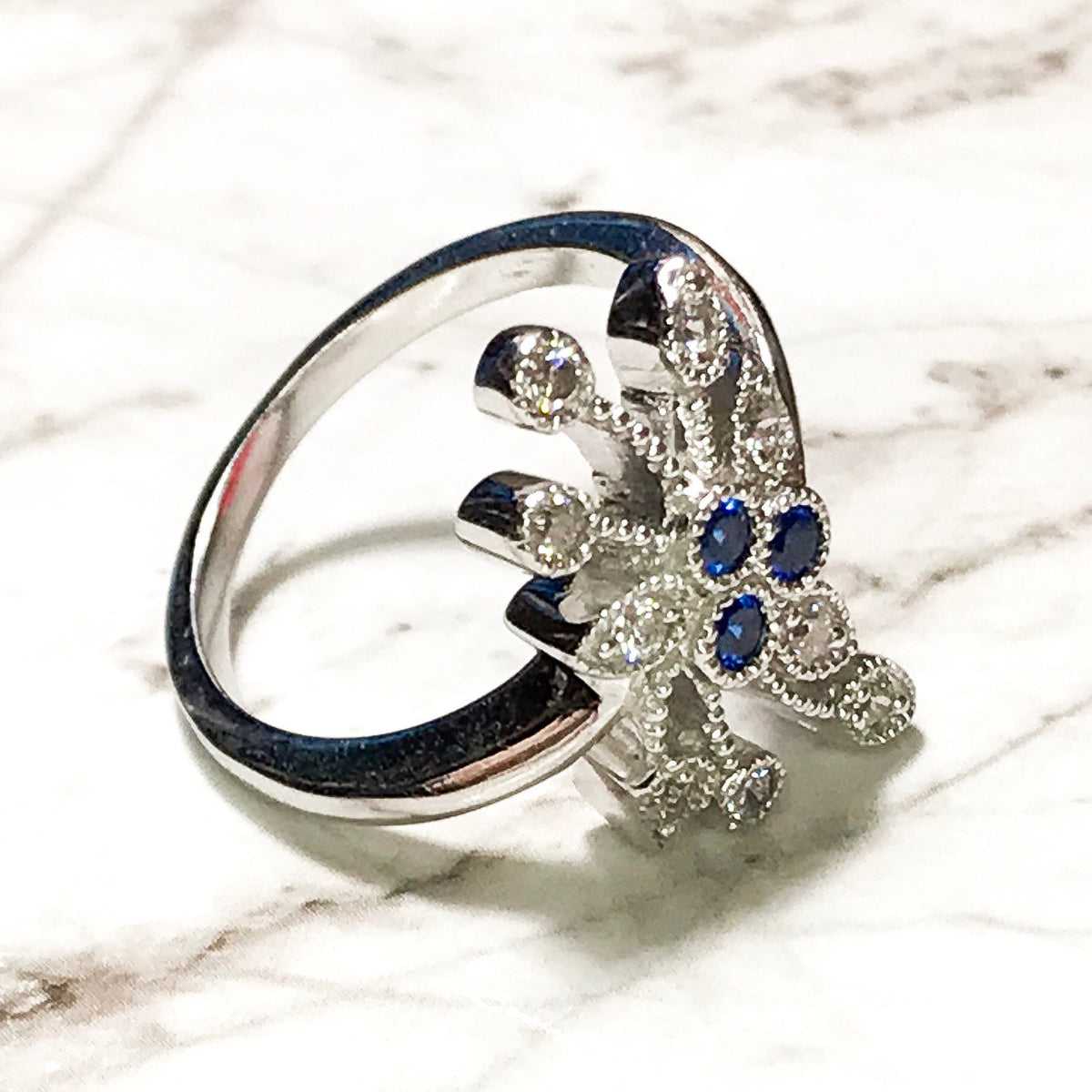 NEW 14K White Gold Layered on Sterling Silver Blue Floral Stones Ring