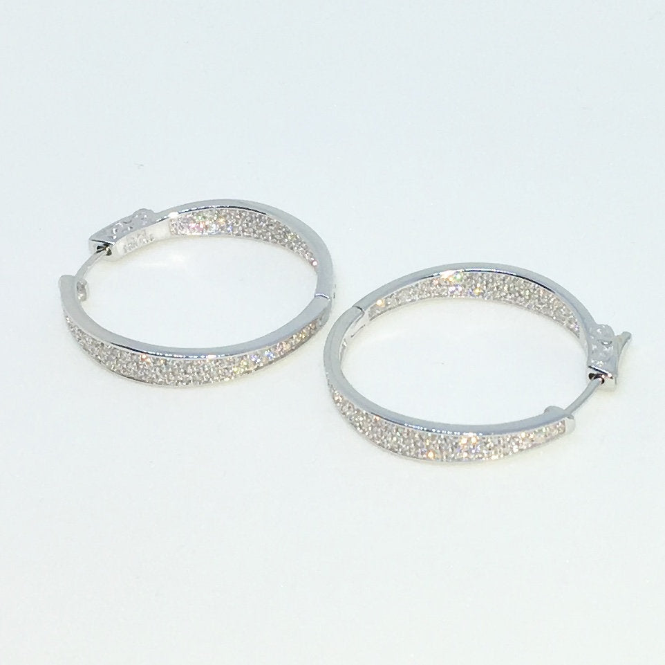 14k White Gold Layered Circle with One Sided CZ on 925 Solid Sterling Silver Hoop Earrings ( 4 . 4 mm )