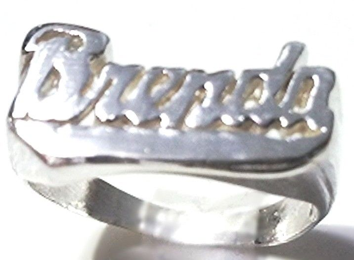 "Personalized Name Ring Custom Name Solid 925 Sterling Silver Customized-""Brenda"""
