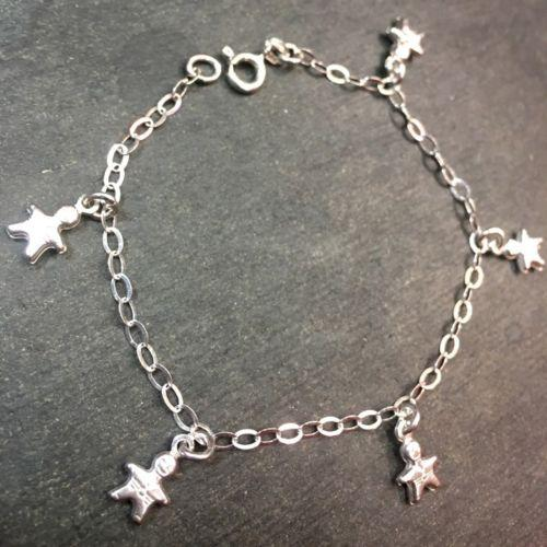 "14k Layer On Solid 925 Silver Italian Boy Dangling Charms Link Bracelet - 7.25"" - 3 Royal Dazzy"