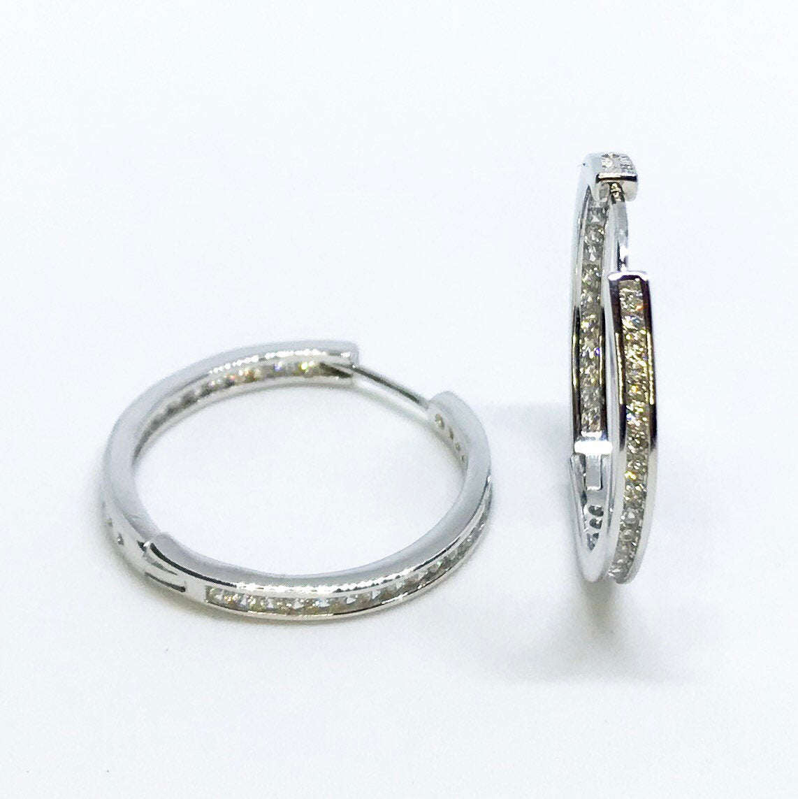 14K White Gold Layered on Sterling Silver Hoop Earrings - 3 Royal Dazzy