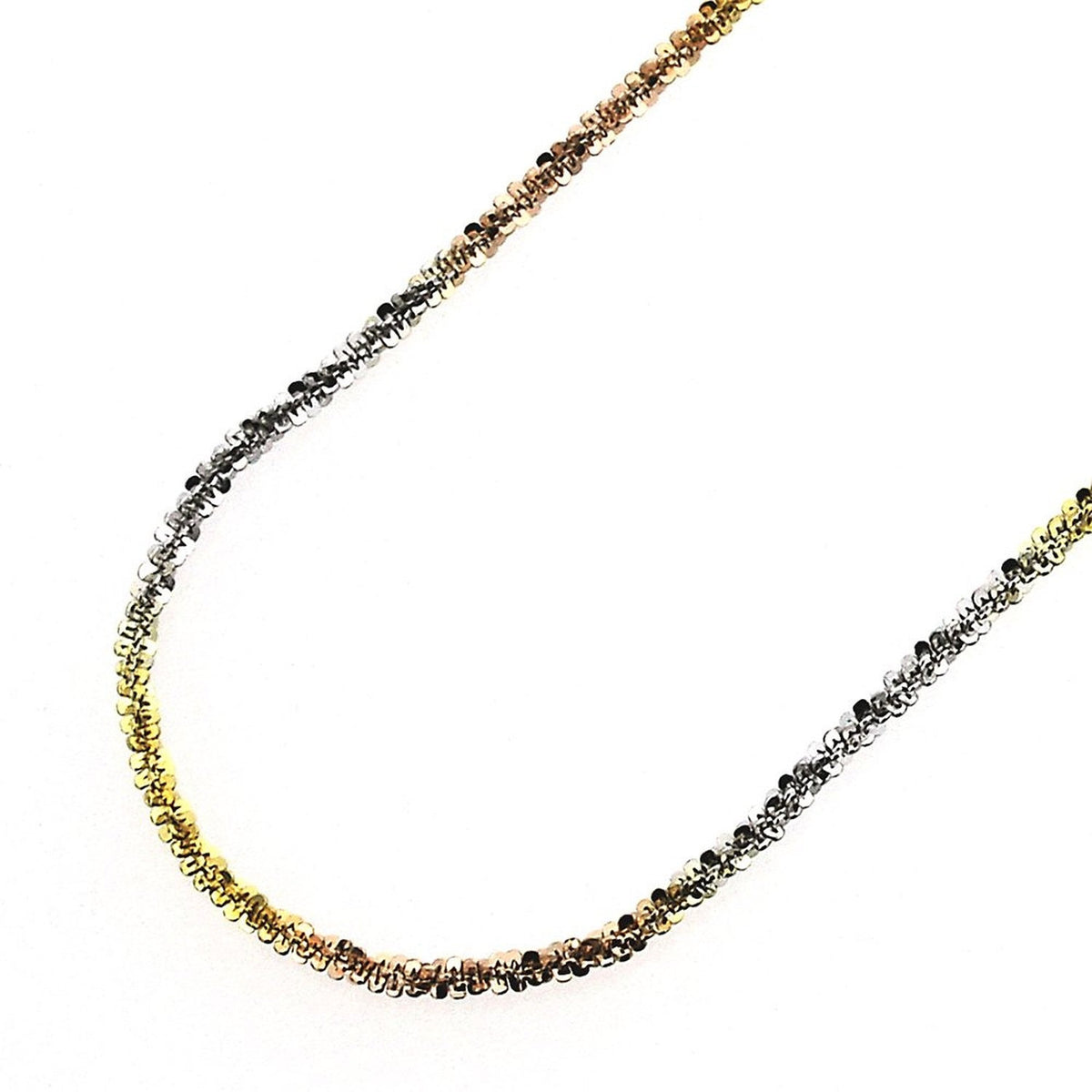 "18k white yellow and rose gold layered on .925 Sterling Silver Rock Chain- 1.5 mm 16 "" - 3 Royal Dazzy"