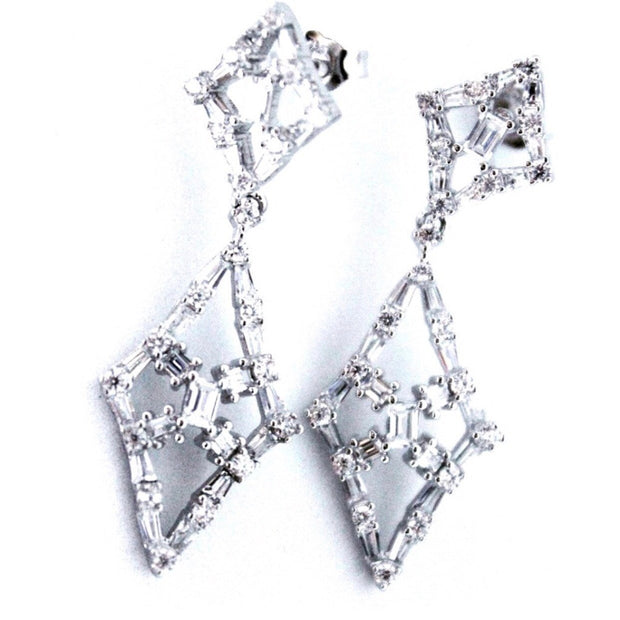 Beautiful Elegant 14K White Gold on Silver Dangling Earrings