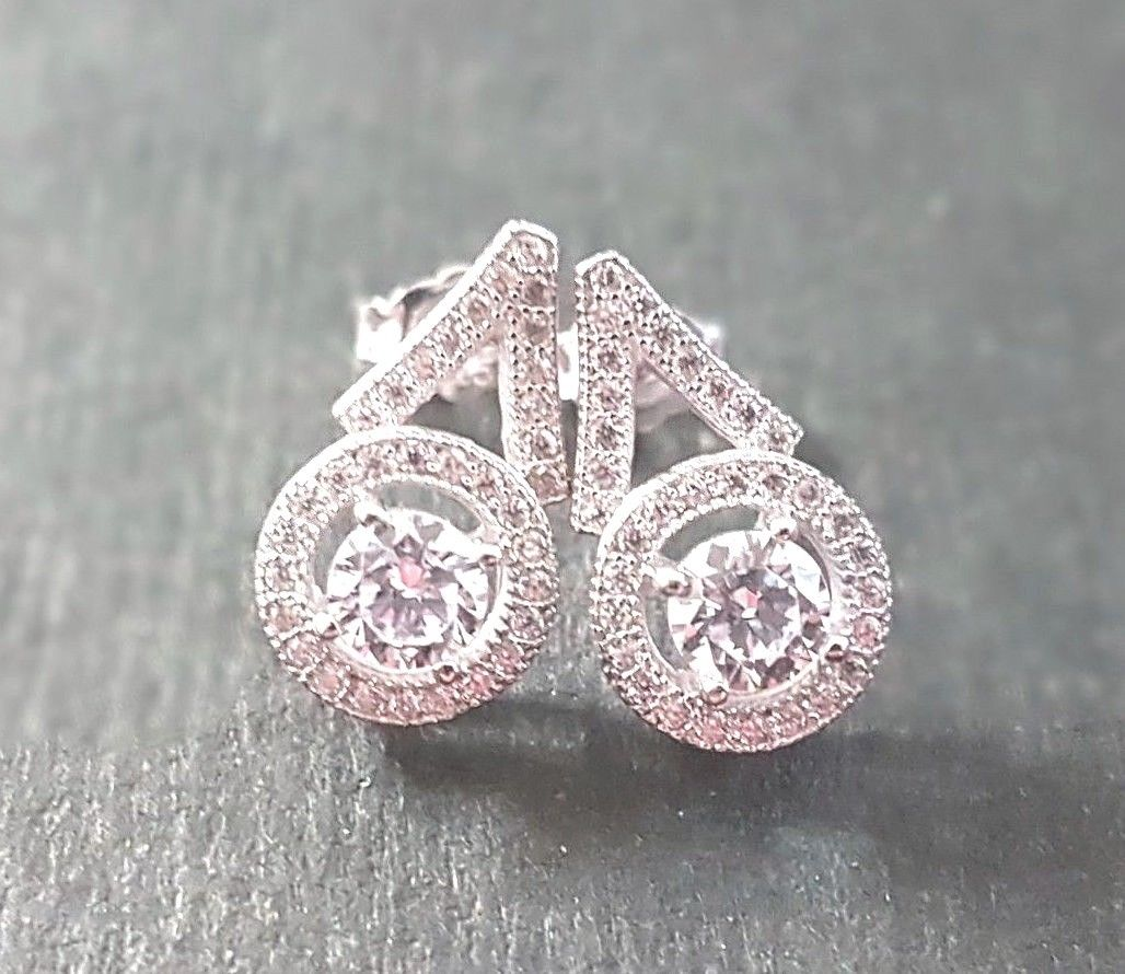 Brand New 14K White Gold Layer on 925 Silver Cubic Zirconia Geometric CZ Earring