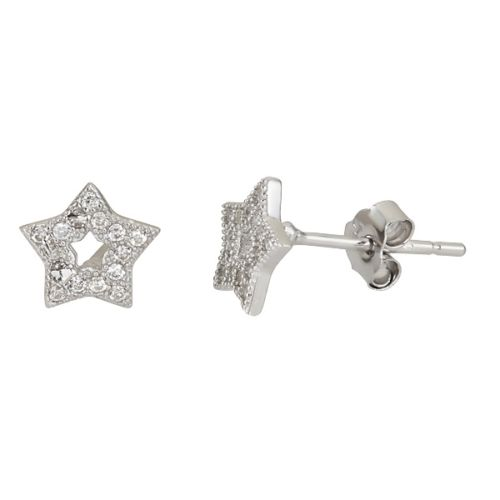 New Sparkling Open Star Micro Pave CZ .925 Sterling Silver Stud Earrings For All