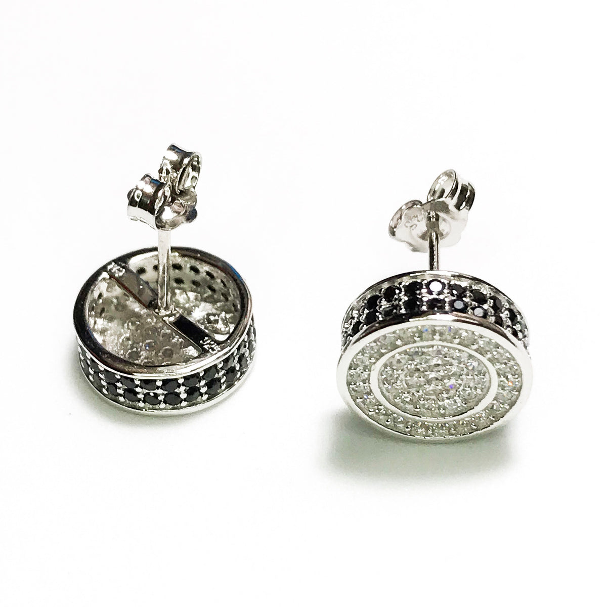 NEW 14K White Gold Layered on .925 Sterling Silver Circle with Black Stones Stud Earrings
