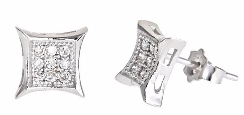 14k white gold layer Small Square MicroPave CZ 925 Sterling Silver Stud Earring - 3 Royal Dazzy