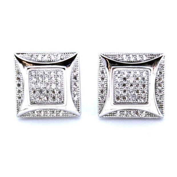 Sophisticated White Gold on Silver Square Earrings