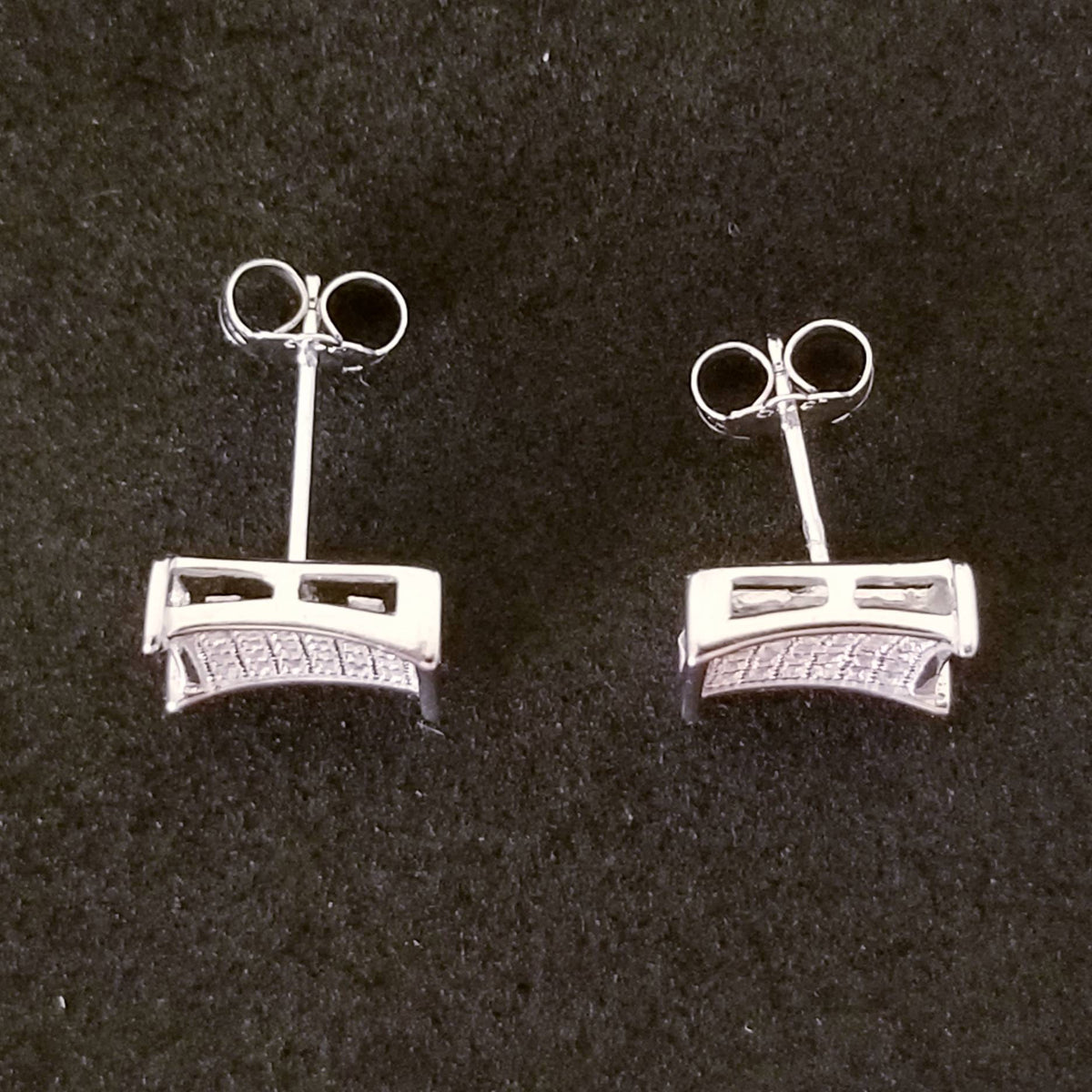 New 14K White Gold on 925 Sterling Silver Square CZ Stones Earrings