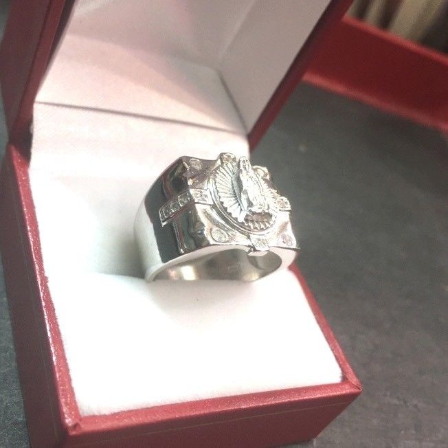 New Wide CZ Handmade 14k Layer On 925 Silver Virgin Mary Men Square Ring S-8.25