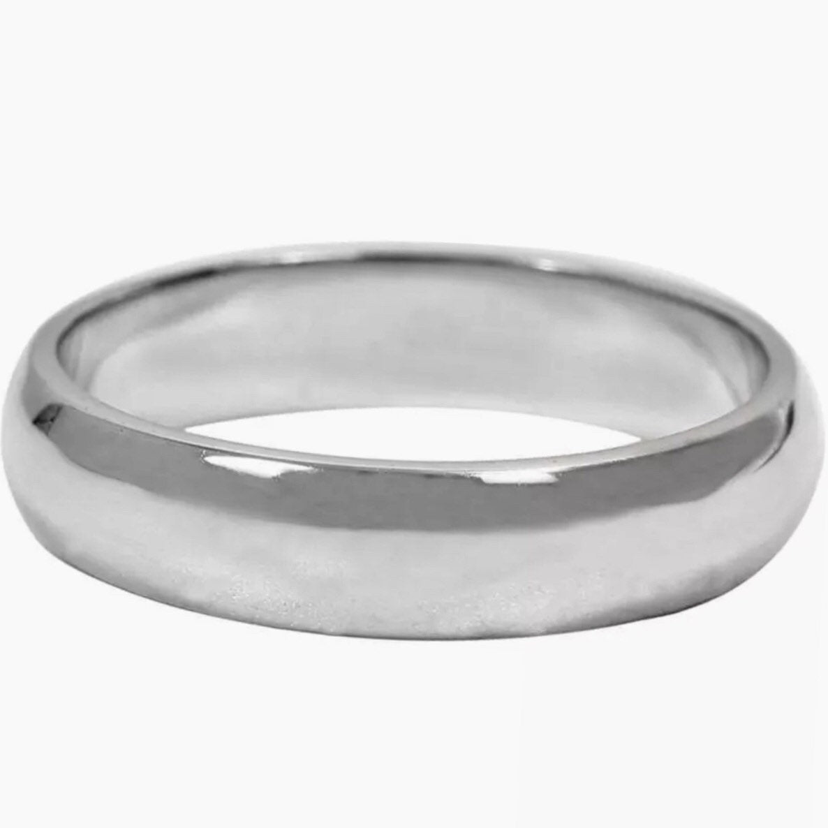 5 . 6mm Size 7 . 25- Handmade solid 990 Silver high polished glossy plain wedding Ring Band