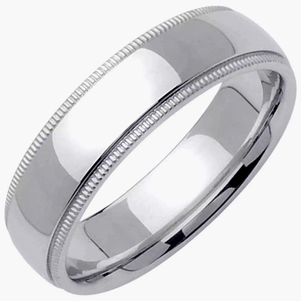 5mm Size 8 - Handcrafted solid 925 Silver high polished Rhodium plain wedding Ring Band