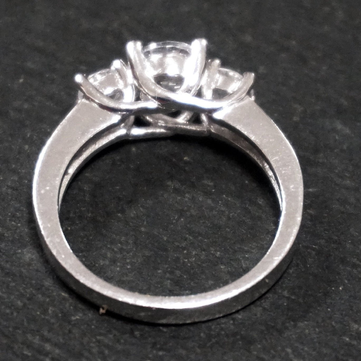 New Cubic Zirconia Handmade 14k Layer On 925 Sterling Silver Small Simply Elegant Triple Round Cut Engagement Ring ( Size : 7 . 2 5 )