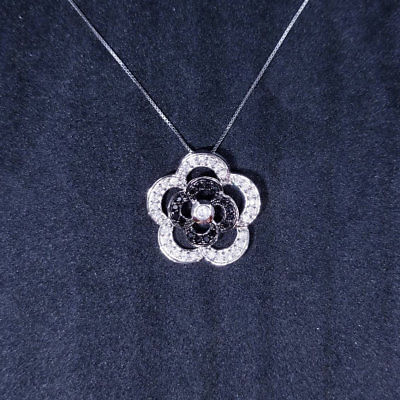New 14k White Gold On 925 Sterling Silver Cute Flower with CZ Stones Pendant Fr