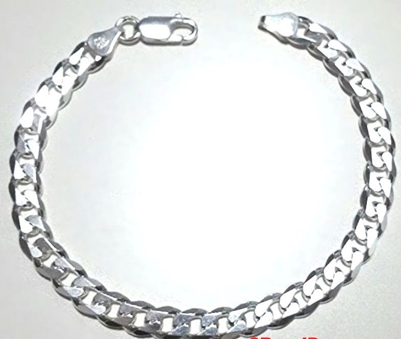 New Men Women Children Sterling Silver Italian Cuban Curb Link Bracelet-5.5mm 9""