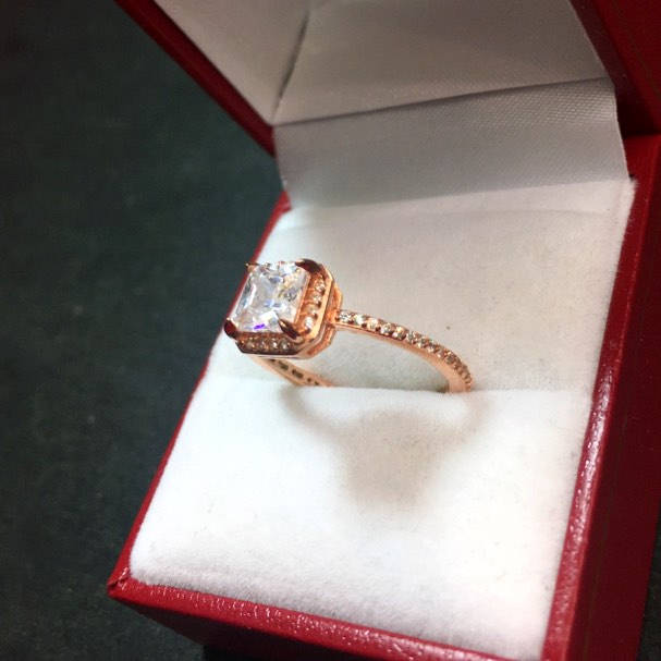 New 1.00 ct Halo CZ 14k Rose Gold On Silver Engagement Wedding Eternity Ring