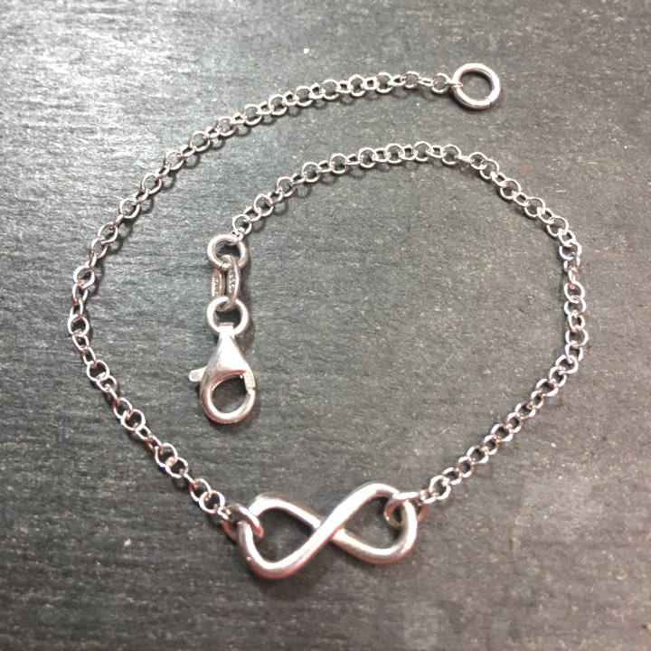 New 14k White Gold Layer On 925 Silver Infinity Charm Link Bracelet 15.4mm-7.5""