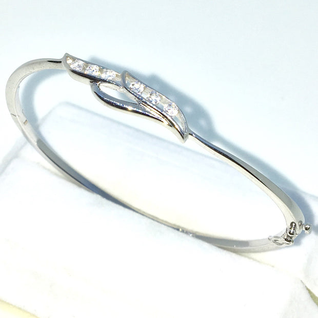 59efe17e3e4 New White Gold Layered on 925 Solid Sterling Silver Oval Bangle Bracelets  rows of White round
