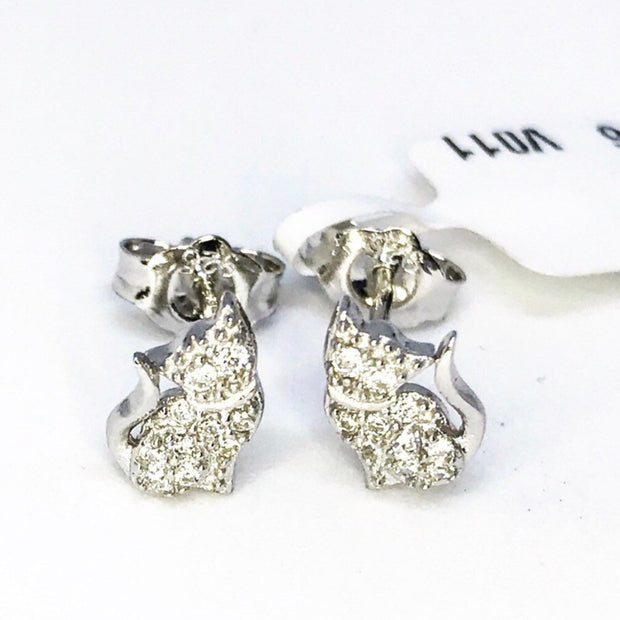 Cute Sterling Silver Cat Earrings