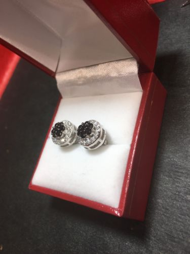 New White & Black  Cubic Zirconia 14k White Gold On Silver Round earring 10.1 mm