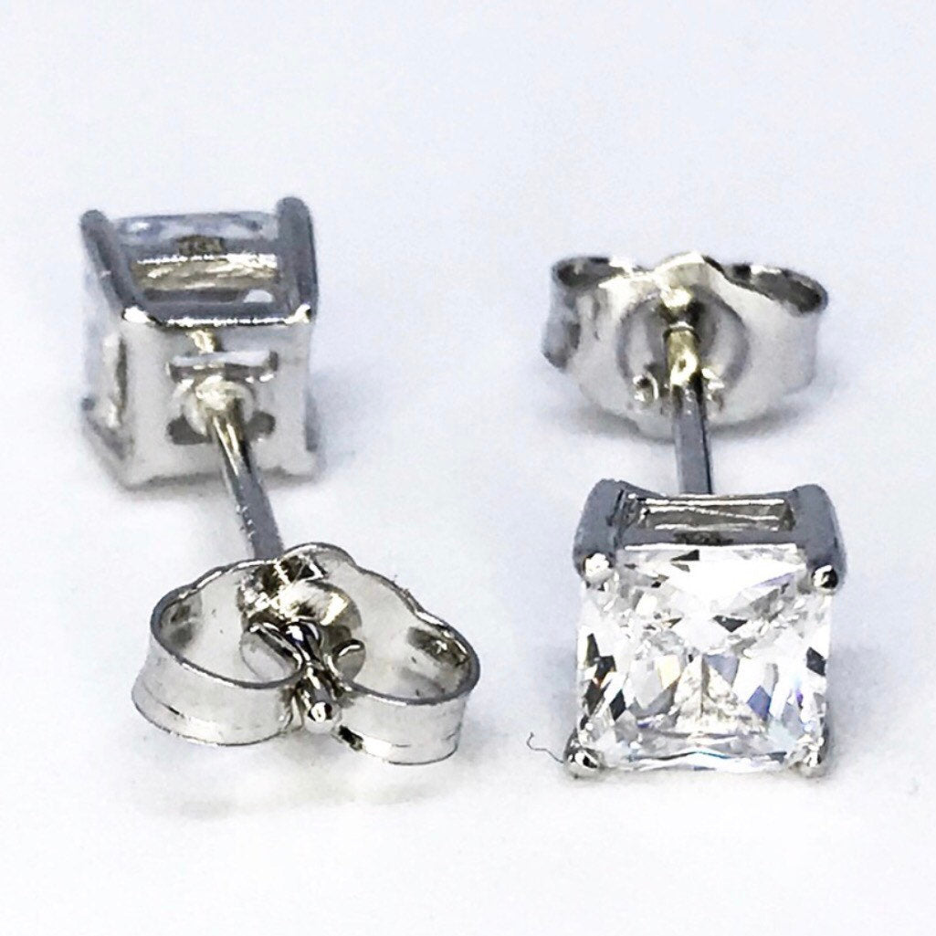 Casual 14k White Gold on Sterling Silver Earrings