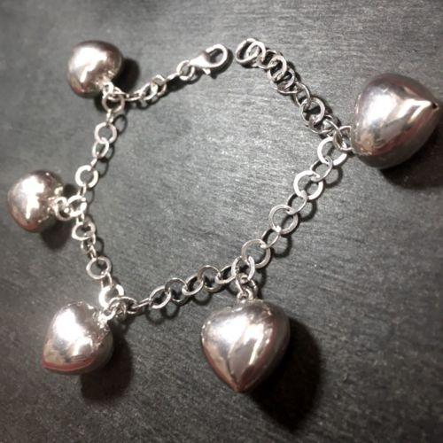 "14k Layer On Solid .925 Silver Hollow Heart Dangling Charms Link Bracelet - 7.5"" - 3 Royal Dazzy"