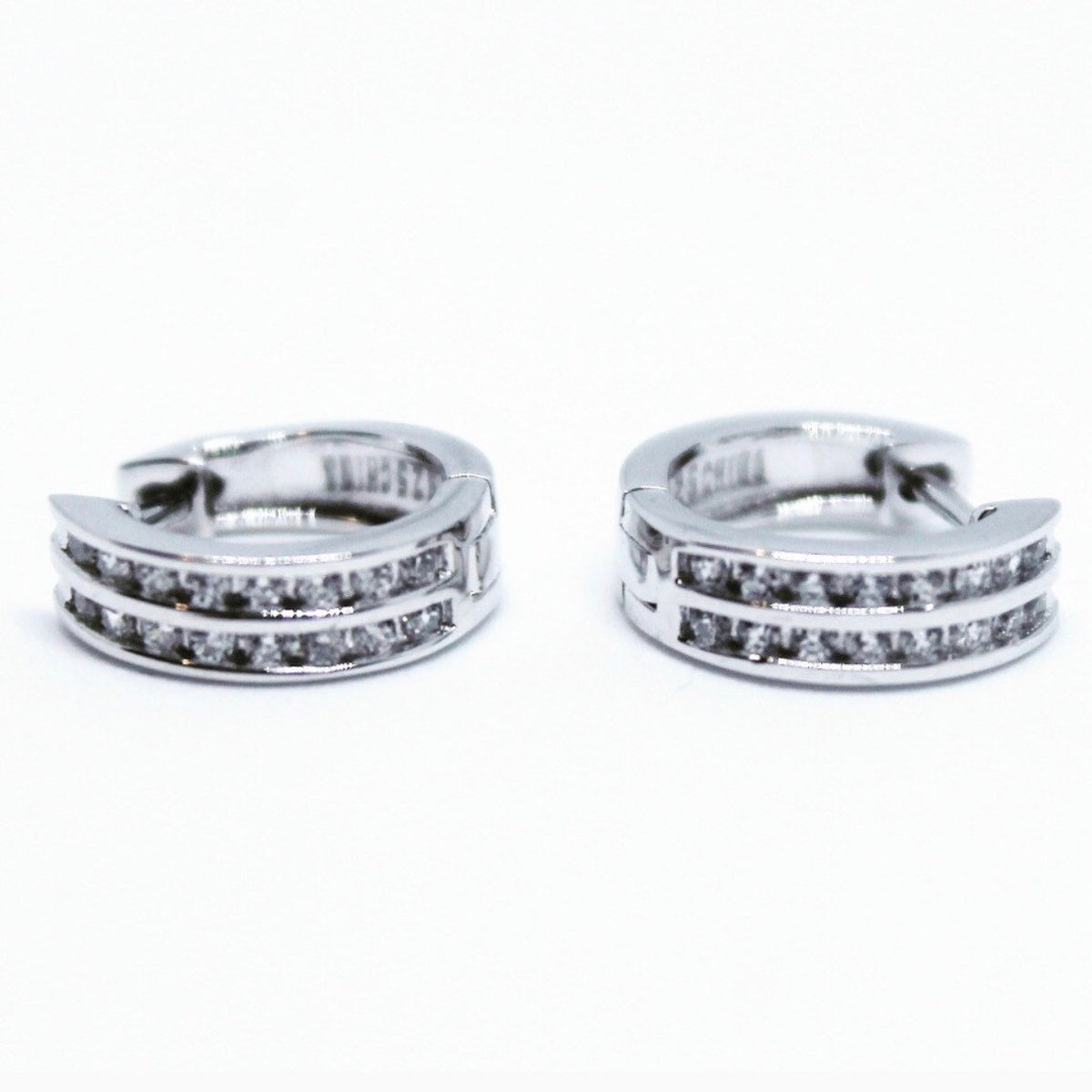 Tiny 14K White Gold on Sterling Silver Hoops Earrings