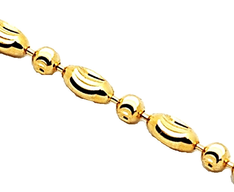 "14K Yellow Gold layered on 925 Silver diamond cut Moon Oval Chain / Necklace - 2mm 16"" - 3 Royal Dazzy"