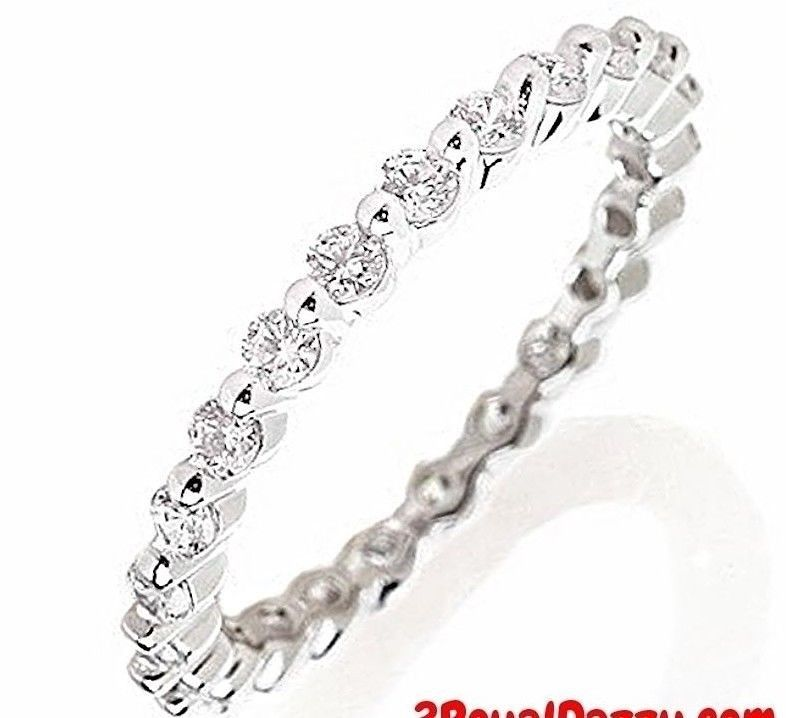 14k w Gold layer on Silver Wedding 1.00ct CZ Stackable Eternity Ring Band Size10 - 3 Royal Dazzy