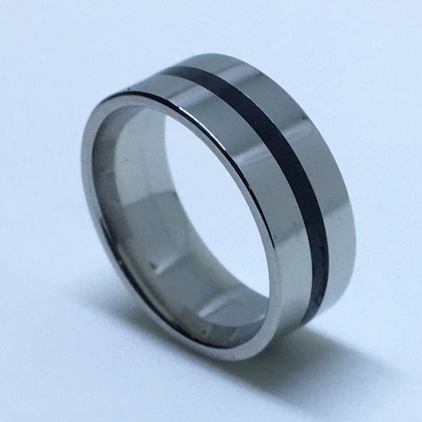 7 . 9 mm Brand New White Gold Plated with Narrow Black Center Line on Stainless Steel ring band