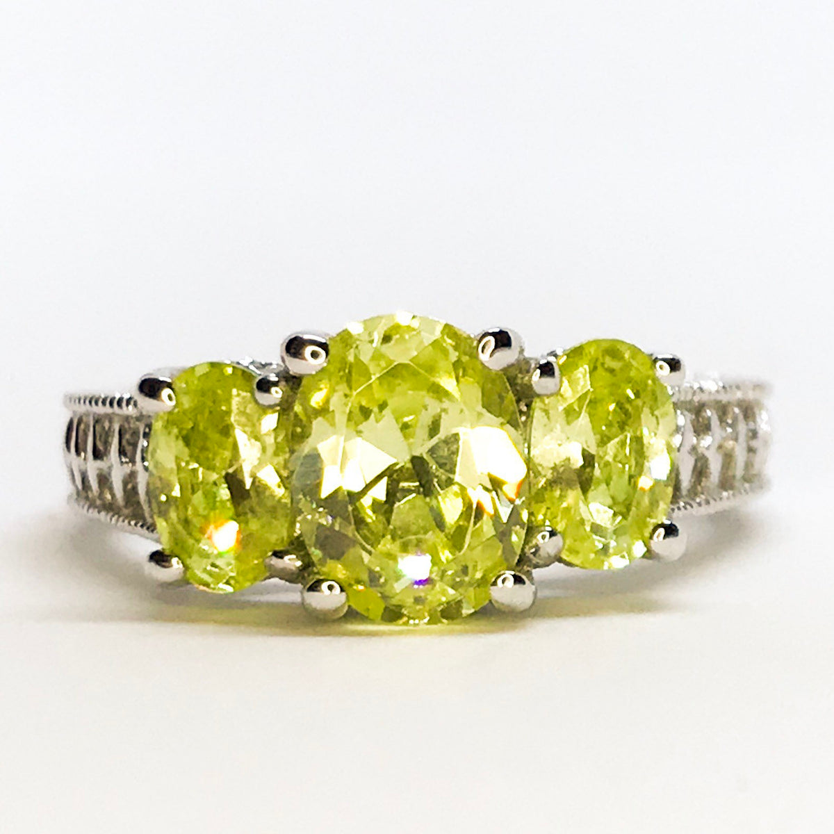NEW 14k White Gold Layered on Sterling Silver Three Oval Lime Green Stones Ring