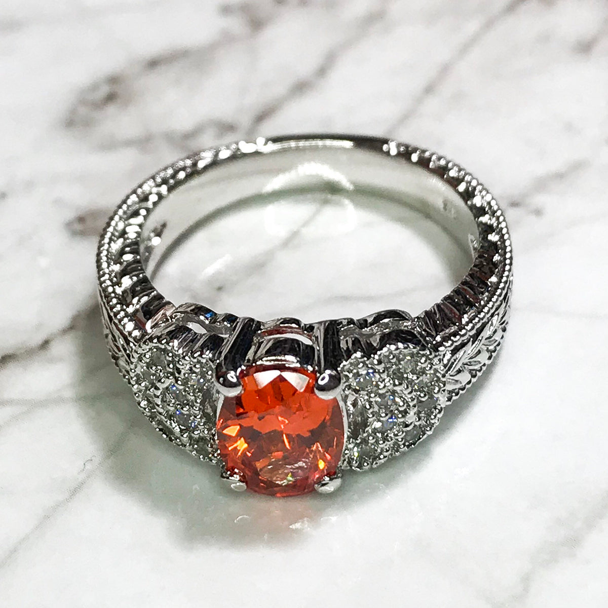 NEW 14K White Gold Layered on Sterling Silver Round Orange Stone Ring